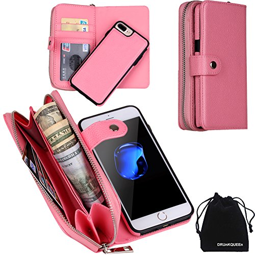 iPhone 8 Plus Case ケース, iPhone 7 Plus Case ケース, DRUnKQUEEn Zipper Wallet Type Flip Premium Leather Credit Card Holder Case with Wrist Strap - Detachable Magnetic Back Cover for iPhone 7Plus / iPhone 8Plus