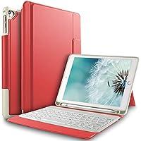 ELTD ipad pro 12.9 ケース 2017/2015モデル(MQDD2CH/A,MQDD2LL/A,ML0R2J/A)12.9インチipad pro用キーボードカバー ipad pro 12.9第2世代/第1世代キーボードケース 手帳型pencil収納 高級PUレザーケース オートスリープ機能付き レッド