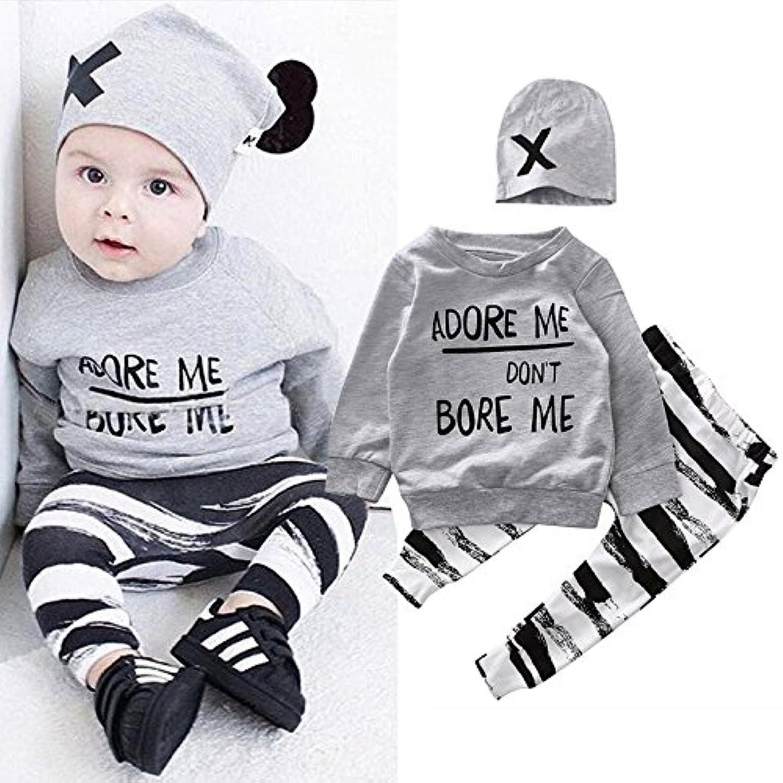 サクララ(Sakulala) ベビー服 ベビー 女の子 男の子 赤ちゃん服 柔らかい 綿 上下セット 帽子付き 長袖Tシャツ ロングパンツセット 3-12ヶ月 春秋 3点セット (110)