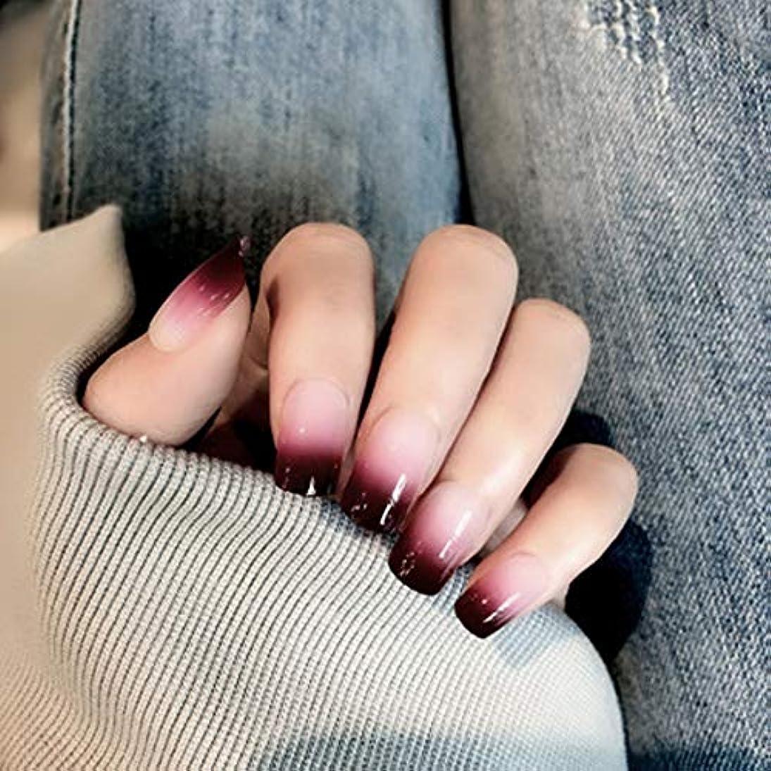 XUTXZKA 女性およびステッカーのための24のPCの赤い勾配色の長い偽の釘の方法偽造品の釘