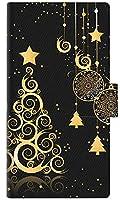 エクスペリア acro HD SO-03D / IS12S スマホケース 手帳型 721 ゴールドクリスマスツリー 【ノーブランド品】