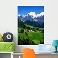 Wallmonkeys St Magdalena in the Dolomites Wall Decal Peel and Stick Graphic WM108052 (36 in H x 24 in W) [並行輸入品]