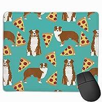 オーストラリアの犬とピザのデザイン - オーストラリアンシェパード - ターコイズマウスパッド 25 x 30 cm
