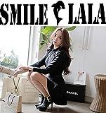 【Smile LaLa】 レディース ワンピース ドレス 長袖 ミニ 丈 フレア ベルト 付き ブラック 春服 秋服