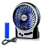 Efluky USB扇風機 [USB/電池]供電 3段階風力調節 緊急照明灯付 充電式 卓上扇風機 ミニ扇風機  ミニファン 小型扇風機 サーキュレーター コンパクト 軽量188 g USBケーブル1.2M 6時間稼働可能(黒)