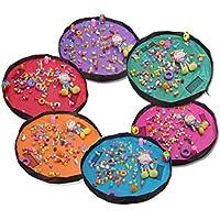 MXIKU 子供用プレイマットおもちゃオーガナイザー、多目的再生バッグ付きおもちゃ収納バッグ、2パック (Color : オレンジ)