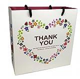 KMS おしゃれ 手提げ 紙袋 ギフト バッグ 10枚セット Thank you 文字 プレゼント 贈り物 に (ホワイトSサイズ)
