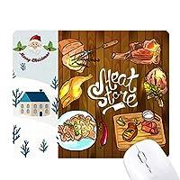 肉のバーベキューステーキ店 サンタクロース家屋ゴムのマウスパッド