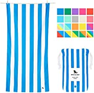 Quick Drying Beach Towel for Travel - Bondi Blue, Large (160x80cm, 63x31) - Quick Dry Towel for Pools, Compact