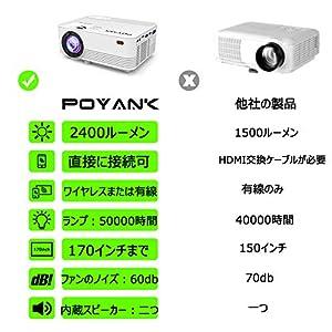 POYANK データプロジェクター 2400lm スマホと直接に接続可 交換ケーブル不要【3年保証】1080PフルHD対応 スピーカーが二つ内蔵 パソコン/スマホ/タブレット/PS3/PS4/DVDプレイヤーなど接続可 標準的なカメラ三脚に対応可