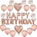 Formemory happy birthday風船 誕生日 バルーン 飾り付け 18個セット パーティー 装飾ギフト アルミ膜風船 バースデー プレゼント 出産祝い 記念日 ローズゴールド