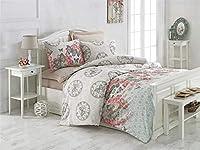 LaModaHome ツインシングルベッドルーム寝具 ソフトカラー コットン65% ポリエステル35% キルト布団カバーセット フェイクタイム- グリーングリーンクリームピンク