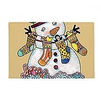 クリスマス雪だるま靴下・フェスティバル アンチスリップマット浴室床カーペットをリビングルーム・キッチン扉16 x 30とquot ; quot ;ギフト