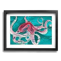 Hao Jinsun Watercolor Hand Painted Pink Octopus On The Green Water 絵画 壁ポスター アートパネル 装飾画 壁飾り インテリアアート 木製の枠 モダン 現代の絵 額縁付き 40×30cm