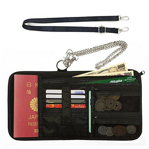 海外旅行 財布 パスポートケース 首下げ & チェーン 付き スキミング防止 【2018年度 改善版】
