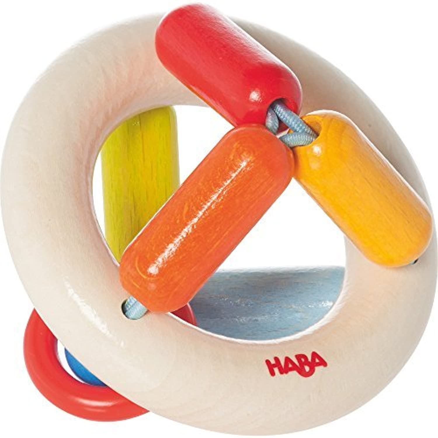 HABA Clutching Toy Rainbow Round Maple Wood Manipulative Rattle & Teether (Made in Germany) [並行輸入品]