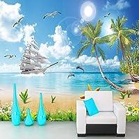 Ljjlm カスタム壁紙用壁3Dシーサイド風景ビーチ写真壁画壁紙リビングルームテレビソファ背景壁-260X180CM
