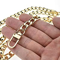 """HAHIYO Purse Chain Strap Length for Shoulder Cross Body Sling Purse Handbag Clutch Bag Replacement Strap Comfortable Flat 0.4"""" Wide Enough 2.4mm Extra Thick Metal Strap 1 Pack, Gold 39.4"""" Length"""