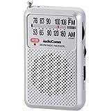 (薄型・軽量・イヤホン付属) AM/FM/ワイドFM対応 ポケットラジオ オーム電機 RAD-P2227S-S(シルバー)