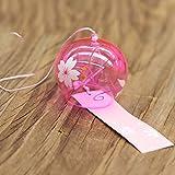 日本風 かわいい ガラス 風鈴 ベル インテリア 飾り物 ピンクの桜のパターン(8x7cm)