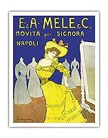 EmiddioとAlfred Meleの服装会社 - 女性、ナポリのためのイノベーション - ビンテージな広告ポスター によって作成された リオネト・カピエロ c.1902 - アートポスター - 28cm x 36cm