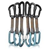 (フュージョン) FUSION 登山 クライミング カラビナ コンティグア超軽量クイックドローカラビナ6pack-11cm ワイヤーゲート/ストレートゲート (QDS-9301WG-BLU+9301ST-BLK)