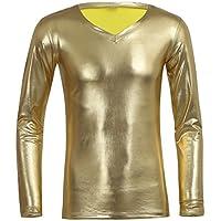 FEESHOW Men's Shiny Metallic Faux Leather Long Sleeve T-Shirts Top Underwear