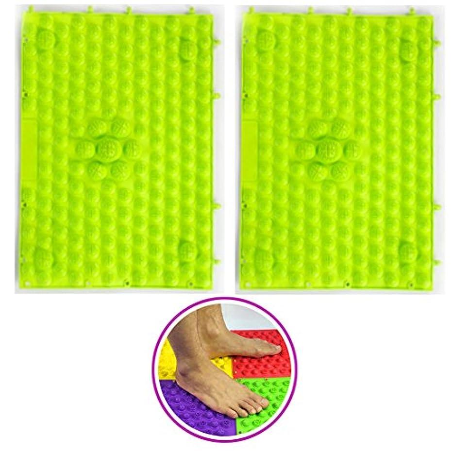 (POMAIKAI) 足つぼマット マッサージシート 健康 ダイエット 足裏マッサージ 2枚セット(グリーン)