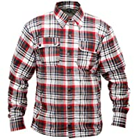 Gentry Choice Motorcycle Riding Flannel Reinforced Biker Shirt Black & Red