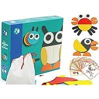 HuaQingPiJu-JP 創造的な木製のカラフルなパズルアーリーラーニング番号の形の色の動物のおもちゃキッズのための素晴らしいギフト(動物)