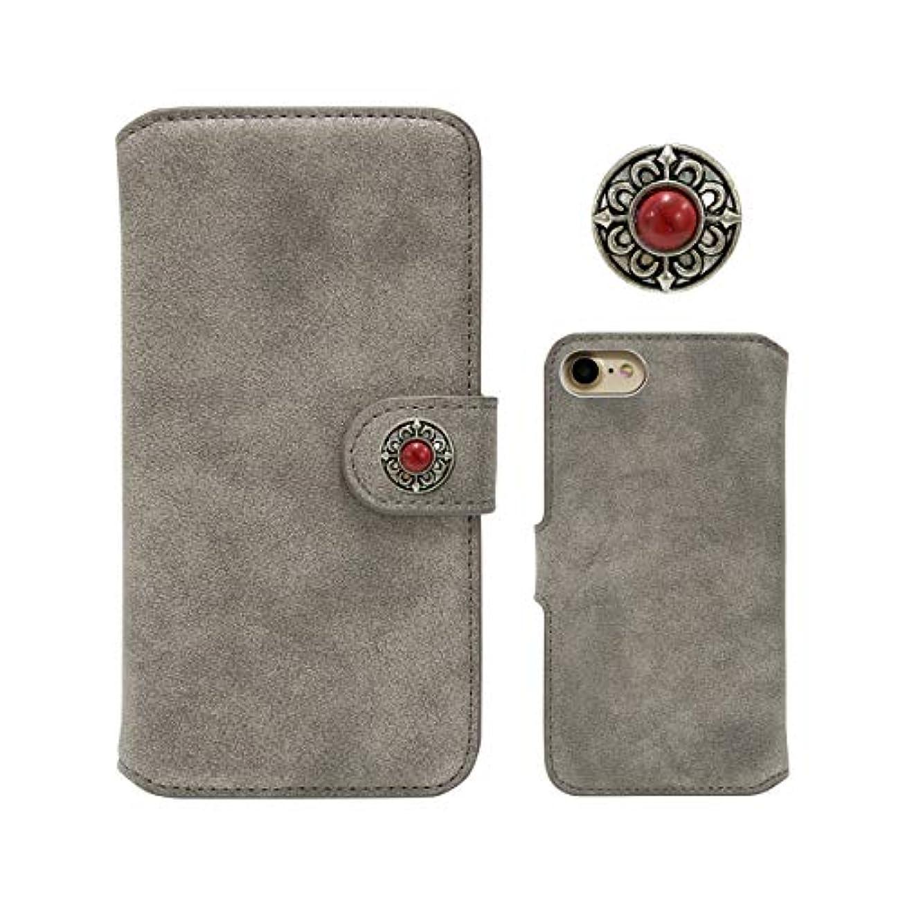 空署名申請中らくらくスマートフォン4 F-04J スマホケース コンチョ 付き 手帳型 ケース suede-concho-02 (シルバー) 財布型 PUレザー ベルト無し 手帳 カバー