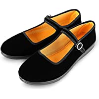 APIKA Women's Velvet Mary Jane Shoes Black Cottton Old Beijing Cloth Flats Yoga