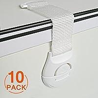 [10パック]食器棚のチャイルドストラップロック、Canwnチャイルド引き出しの安全ロック強力な接着剤の赤ちゃんのドアロック引き出しとキャビネットのドアの安全ロックラッチ穴あけや工具なし(白)