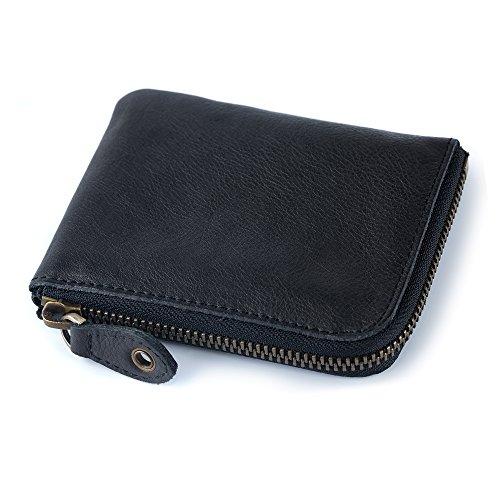 ONSTRO 財布 メンズ 本革 L字 ファスナー 鞣し レザー 小銭入れ カード収納 コンパクト 柔らかい ブラック