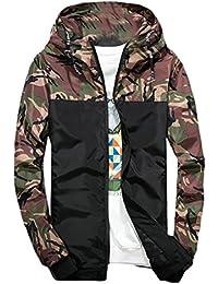 Keaac 男性のカジュアルなヒップホップの迷彩パッチワーク軽量フードジャケット