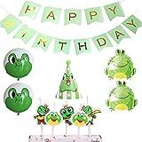 カエル 誕生日 飾り付け 蛙 グリーン 動物 可愛い 子供 男の子 女の子 happy birthday バナー ガーランド 風船 バルーン ケーキトッパー 三角帽子 11枚セット
