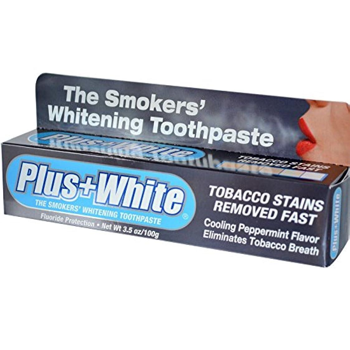 工夫する家庭教師白いPlus White, The Smokers' Whitening Toothpaste, Cooling Peppermint Flavor, 3.5 oz (100 g)
