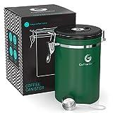 Coffee Gator コーヒーキャニスター 1910ml(グリーン)保存容器 ステンレス製 密封バルブ・日付表示ダイヤル・計量さじ付