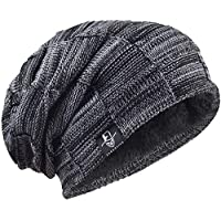 73a5ba73ce965 VECRY Mens Beanie Hat Fleece Lined Knit Hat Thick Skull Cap