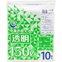 日本技研工業 業務用ポリ袋 TN-36 透明 150L 10枚 130x120cm 0.05mm