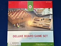 7-in-1 Deluxe Board Game Set Parcheesi, Checkers, Chinese Checkers, Tic-tac-toe, Chess, Dominoes, and Backgammon
