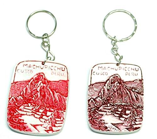 【マルモリーナのキーホルダー1個 マチュピチュ風景 アンデス山々 MACHU PICCHU柄】石灰石のキーホルダー ペルー民芸品 色の指定ができません