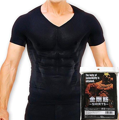 【正規販売店】金剛筋シャツ 加圧インナー 抗菌消臭(Vネック/M, ブラック)