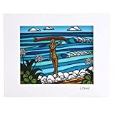 (ヘザーブラウン)HEATHER BROWN ART PRINT W35.6×H28.0cm・SURF STROLL・アートプリント・サーフストロール Mサイズ横・サイン入り・絵画 HB9131P/SURF STROLL [並行輸入品]