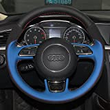 16sixteen Luxury Hand裁縫滑り止め通気性Nappa &スエードレザーステッチon Car Steering Wheel Cover for Audi a1a3a5a7、ブラック&ブルーカバー、9色スレッド