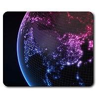 快適なマウスマット - コンピュータ&ノートパソコン、オフィス、ギフト、ノンスリップベース用ネオングローブ地図地球クール23.5 X 19.6センチメートル(9.3 X 7.7インチ) - RM2396