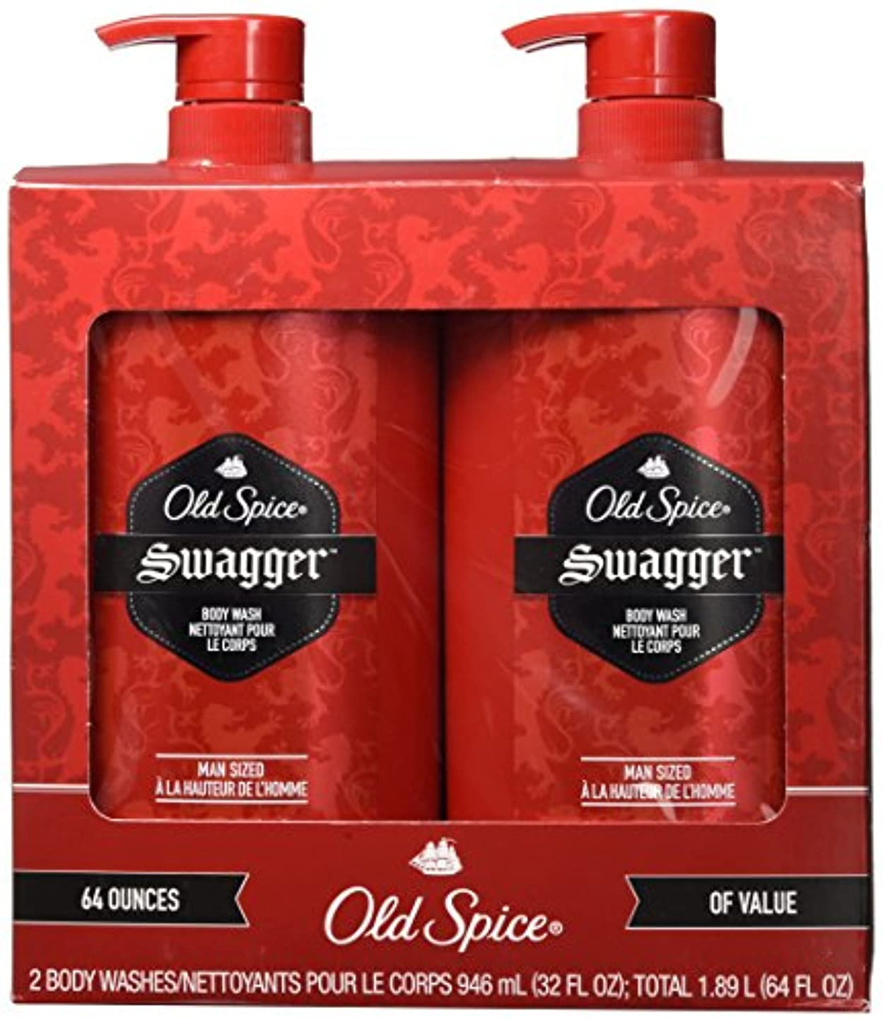 果てしない笑解き明かすLOT OF 2 Old Spice Swagger Body Wash 64 Ounces Total Man Sized Shower Bath NEW by Old Spice