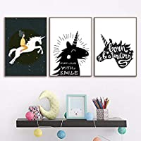 qiumeixia1 ブラックホワイト漫画ユニコーンガールウォールアートキャンバスポスターとキャンバス絵画壁の写真子供部屋寝室の壁の装飾50 * 70センチいいえフレーム