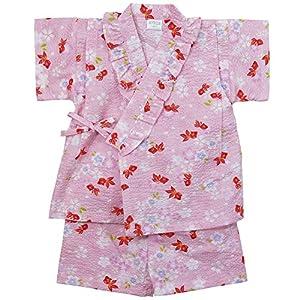 《盛夏 甚平》(ジンベイ) 日本製ベビー女児 リップル生地金魚総柄甚平スーツ 80cm/PK NO.OG-75570