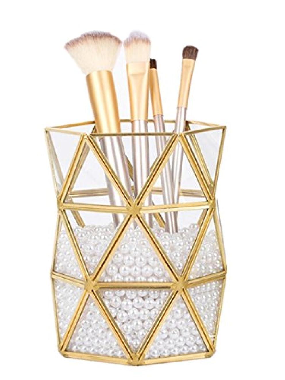 顔料メイトポルノガラスと真鍮でできたキャッシュトレー シャンパンゴールドガラス装飾表示&整理ガラストレイ ジュエリートレイ ゴールド メイクブラシ収納ボックス (ポリゴン)